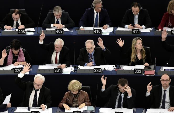 Séance du Parlement européen, le 8 mars, à Strasbourg.