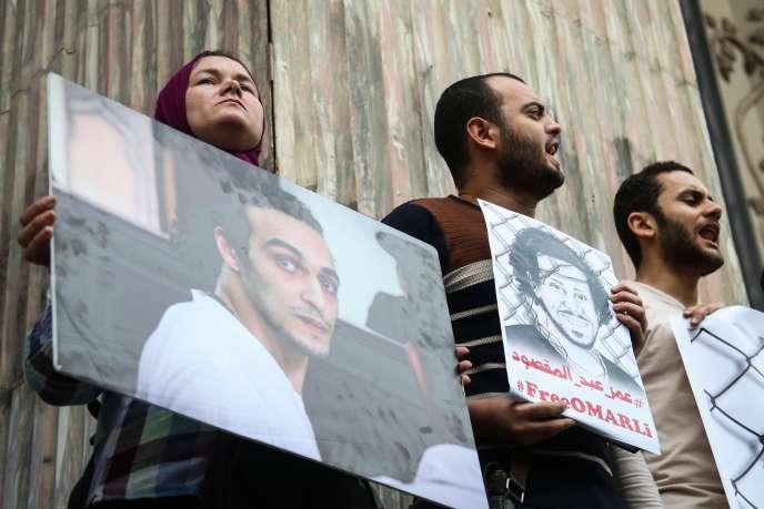 Manifestation pour la libération de journalistes, auCaire, le 2 mars 2016.