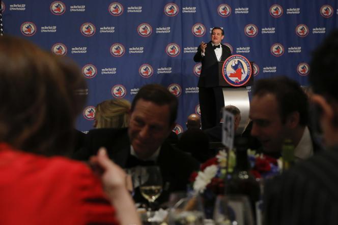 Le candidat Ted Cruz  lors de son discours au Gala Républicain annuel de l'état de New York, le 14 avril 2016 .