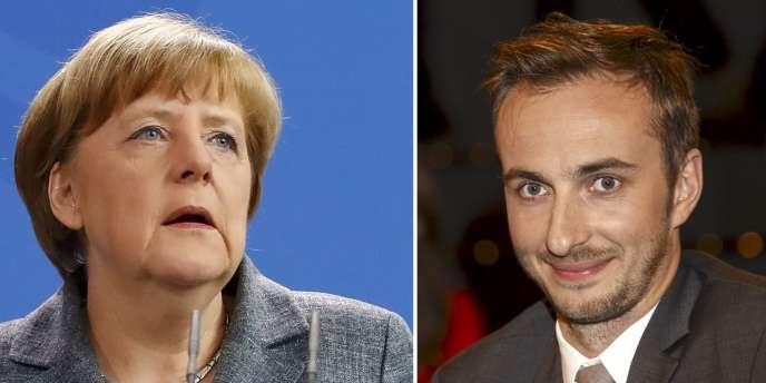 La chancelière allemande Angela Merkel et l'humoriste Jan Böhmermann.