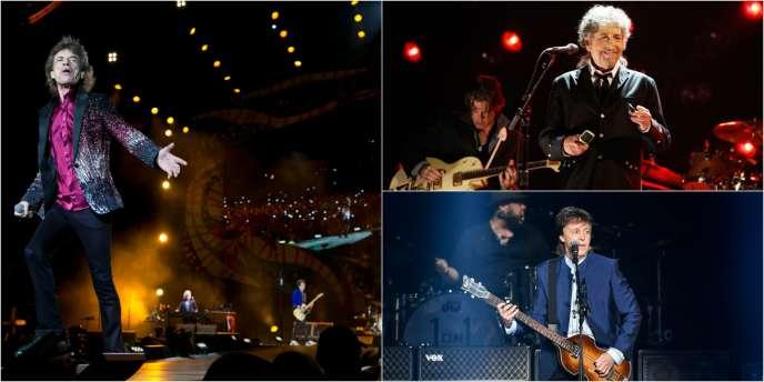 De gauche à droite, de haut en bas : Mick Jagger, le chanteur des Rolling Stones, Bob Dylan et l'ancien Beatles Paul McCartney.