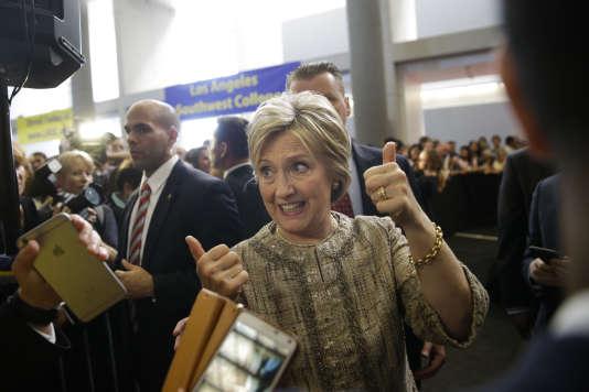 Hillary Clinton en campagne à Los Angeles, le 16 avril 2016.