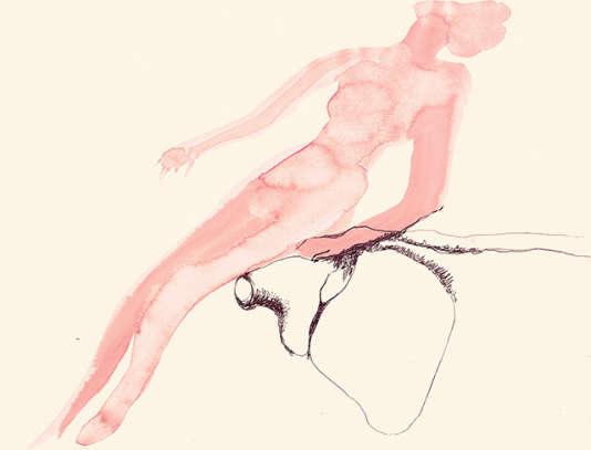 """""""Paysage humain"""", du cycle """"Paysage(s) humain(s)""""),  vers 1971-1972. Aquarelle et feutre sur papier."""