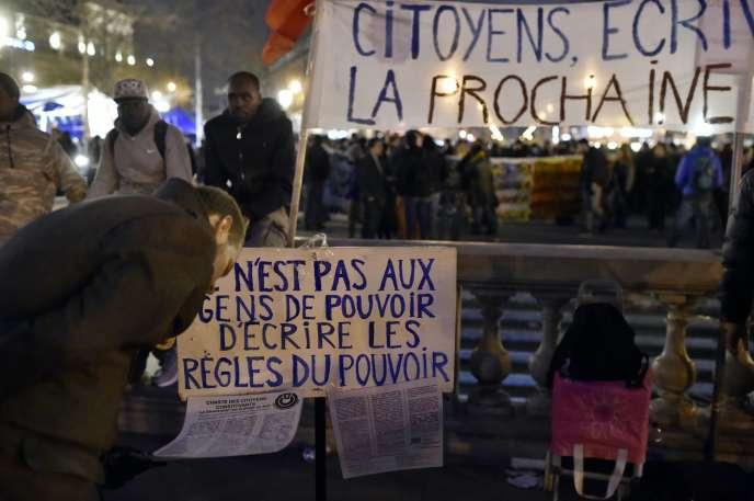 Paris, place de la République, le 16 avril.
