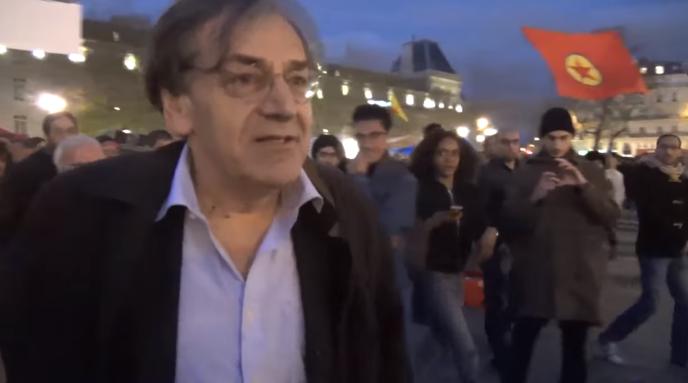 Alain Finkielkraut à la Nuit debout, le 16avril.