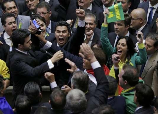 Lors du vote sur la destitution de Dilma Rousseff, à la chambre des députés, le 17 avril.