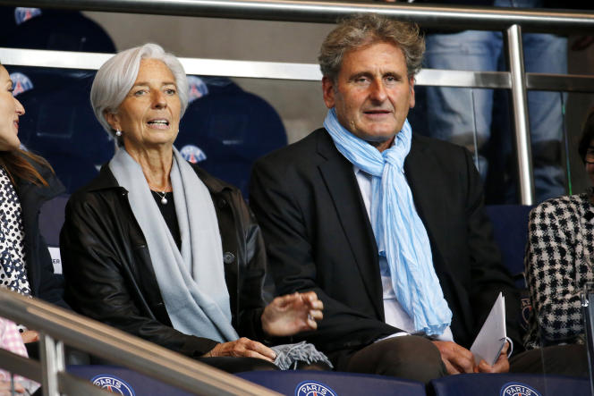 Christine Lagarde et Xavier Giocanti lors d'un PSG-OM en novembre 2014.