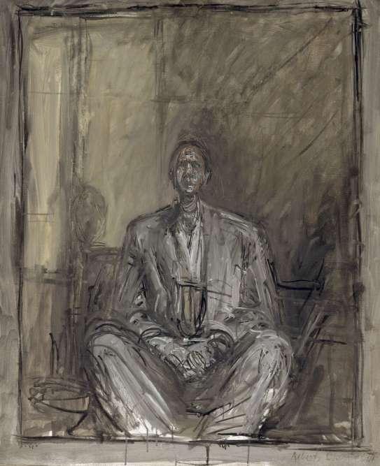 """« Ce portrait est extrait d'une série de trois tableaux et six dessins réalisés par Alberto Giacometti entre 1954 et 1957, auxquels Genet répondit par """"L'Atelier d'Alberto Giacometti"""". La rencontre de Giacometti fut également décisive car elle permit à Genet de sortir de son silence littéraire en se tournant vers le théâtre pour composer d'un coup ses trois grandes pièces, """"Le Balcon"""", """"Les Nègres"""" et """"Les Paravents"""". Il déclarait à la fin de sa vie que Giacometti était le seul homme qu'il eût jamais admiré. »"""