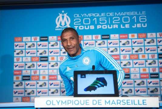 Franck Passi entraîneur de l'Olympique de Marseille par intérim, le 19 avril 2016.