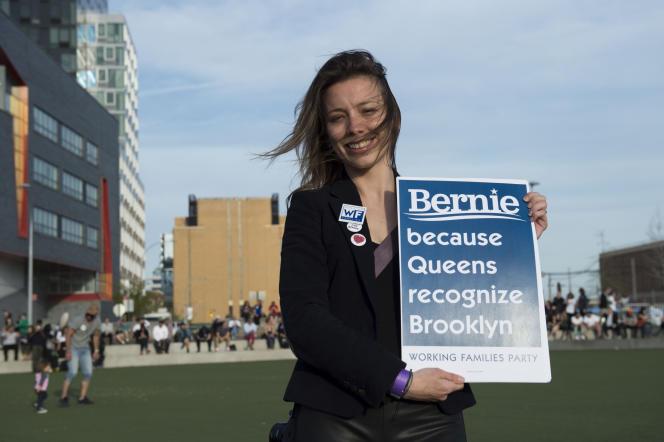 Une supportrice de Bernie Sanders à Hunter's Point South Park, dans le Queens, le 19avril.