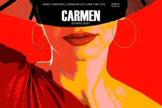 """Un détail de l'affiche du spectacle """"Carmen""""."""