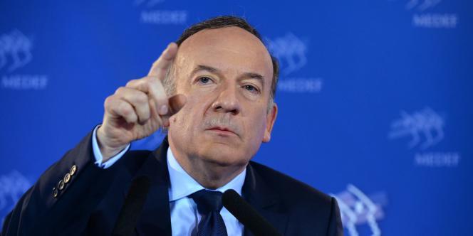 Pierre Gattaz, le président du Medef, lors de sa conférence de presse mensuelle au siège de l'organisation patronale, à Paris, le 19avril.