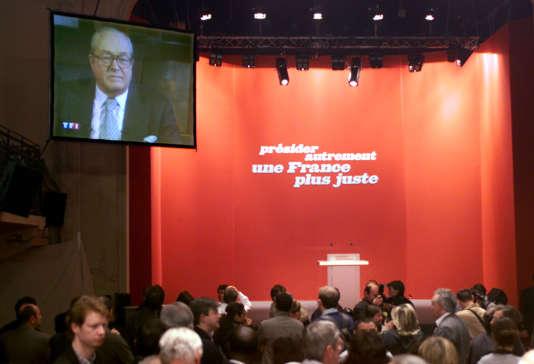Au QG de Lionel Jospin, le 21avril2002, à la suite de la qualification de Jean-Marie Le Pen (FN) pour le second tour de la présidentielle.