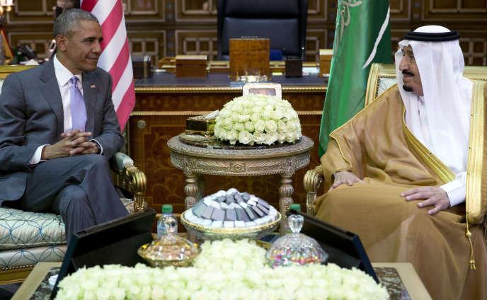 Le président américain Barack Obama avec le roi Salman en Arabie Saoudite à Ryad, le 20 avril 2016.