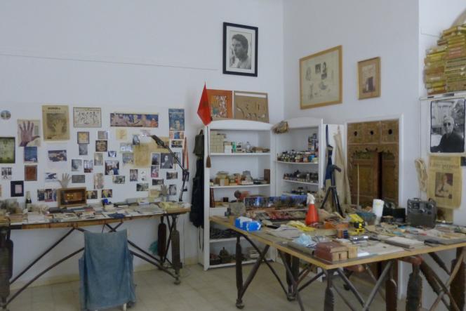 L'ancien atelier du peintre marocain Farid Belkahia dans le musée qui porte son nom à Marrakech au Maroc.