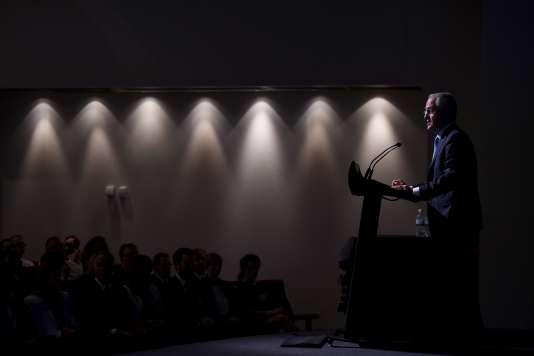 Le premier ministre australien, Malcolm Turnbull, présente son plan de sécurité informatique, le 21 avril.