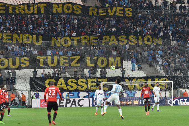 Match entre Marseille et Rennes au Stade Vélodrome de Marseille, le 18 mars 2016.