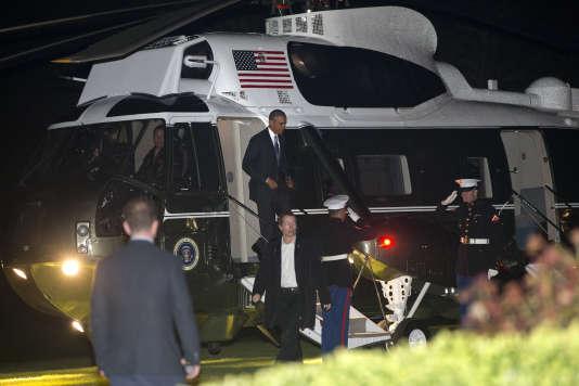 Barack Obama arrive à Londres, le 21 avril 2016.