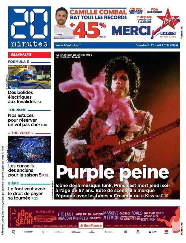 Le quotidien «20 Minutes» évoque une «purple peine».