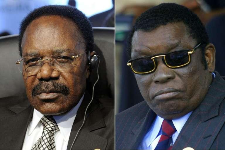 Omar Bongo du Gabon (à gauche) et Gnassingbe Eyadema du Togo, décédés respectivement en 2009 et 2005, en dehors de leur pays.
