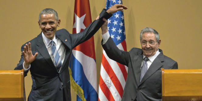Barack Obama et Raul Castro, le 21  mars, à La Havane.