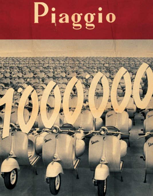 1956 : l'affiche du 10e anniversaire de la Vespa.