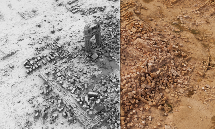 Travail de modélisation des blocs écroulés du temple de Bêl, qui permettra de les déplacer virtuellement. Un travail préparatoire qui facilite la manipulation ultérieure sur le terrain.