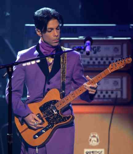 La couleur violette est devenue sa signature. Ici, lors d'un concert à Los Angeles, en juin2006.