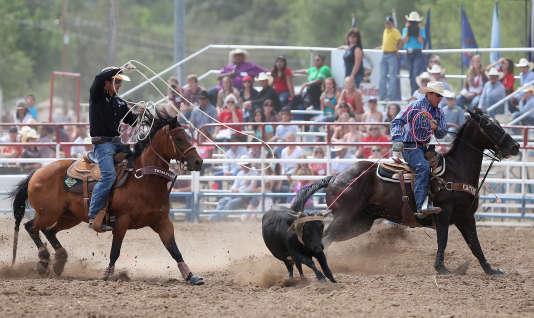 """Une compétition de """"team roping"""", a Prescott, en Arizona (2014)."""