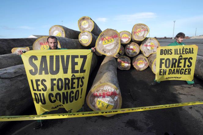 Campagne de Greenpeace pour alerter sur la déforestation mondiale et le commerce illégal de bois, notamment au Congo, le 22 mai 2014 au port de La Rochelle.