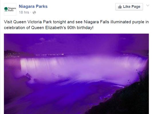 Chutes du Niagara en violet en hommage à la reine Elisabeth II.