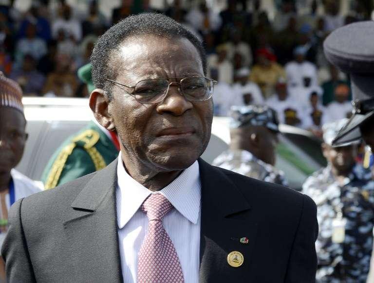 Teodoro Obiang Nguema, en mai 2015, à Abuja, capitale nigériane.