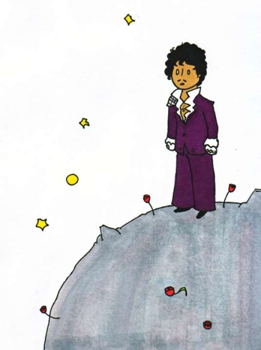 """Ce dessin, œuvre de la dessinatrice Fauna93 sur le site DeviantArt, et représentant le chanteur Prince à la façon du """"Petit Prince"""" de Saint-Exupéry, a été partagé par de nombreux Internautes depuis la mort du musicien, le 21 avril."""