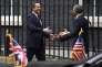 Le premier ministre britannique, David Cameron, accueille le président américain, Barack Obama, le 22 avril 2016, à Londres.