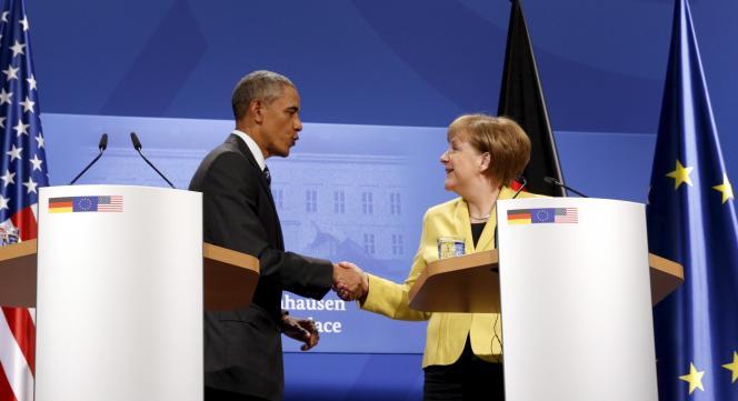 Barack Obama et Angela Merkel à Hanovre, le 24 avril 2016.