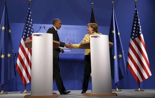 Le président américain, Barack Obama, et la chancelière allemande, Angela Merkel, lors de leur rencontre à Hanovre le 24 avril.