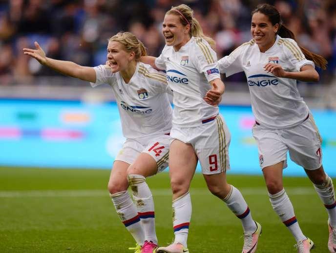 La joie des joueuses de l'OL après leur victoire en finale de la Ligue des champions.