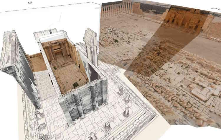 A partir des relevés de fouilles et des anciens travaux de restauration du temple de Bêl, notamment ceux des années 1930 de l'architecte Robert Amy, et de photos précédant sa destruction par l'organisation Etat islamique, Iconem a mis en scène cette reconstruction.