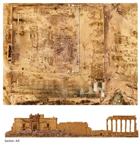 Vus d'un drone, dans leur environnement, le plan et le profil panoramique du rempart du temple de Bêl avec, au premier plan, le portique debout et l'amas de pierres de la cella, écroulée après l'explosion.