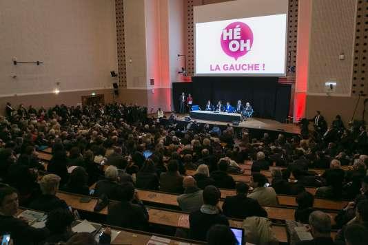 Un meeting de «Hé oh la gauche ! », le 25 avril à Paris.