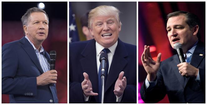 John Kasich (gauche), Donald Trump (centre) et Ted Cruz (droite).