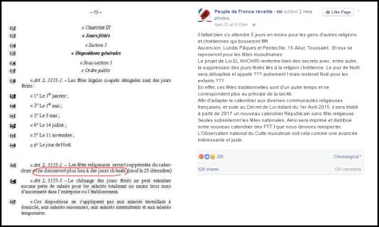 Capture d'écran d'une page Facebook qui présente un prétendu extrait de la loi El Khomri.