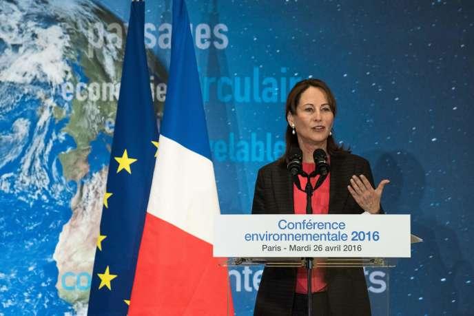 Ségolène Royal, lors de la quatrième conférence environnementale du quinquennat de François Hollande, le 26 avril.