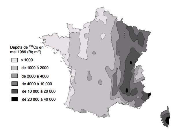 Taux de césium 137 relevés en France en mai 1986.