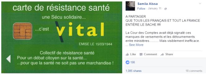 Capture d'écran d'un post Facebook qui reprend le message, partagé plus de 1 000 fois sur le réseau social.