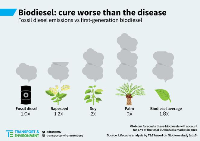 Infographie de l'ONG Transport & environnement. Les biocarburants : le remède est pire que le mal. Les émissions de carburants fossiles versus les biocarburants de première génération. Diesel ; colza ; soja ; palmier (à huile) ; moyenne des biocarburants.