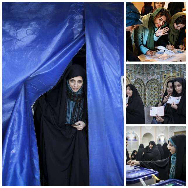 Lors du premier tour des élections législatives, le 26 février, à Qom.
