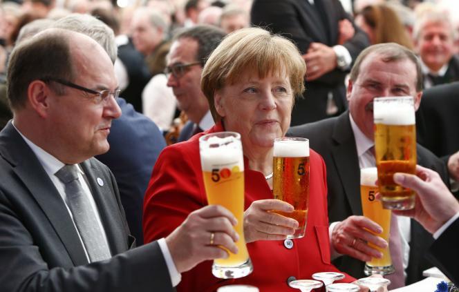La chancelière allemande  Angela Merkel lors de la celebration du cincentième anniversaire de la