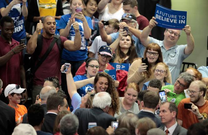 Le candidat à l'investiture démocrate Bernie Sanders lors d'un meeting à Huntington, en Virginie-Occidentale, le 26 avril 2016.