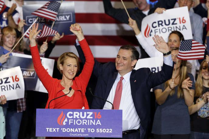 L'ancienne responsable de Hewlett-Packard Carly Fiorina et le candidat républicain Ted Cruz à Indianapolis, mercredi 27 avril 2016.